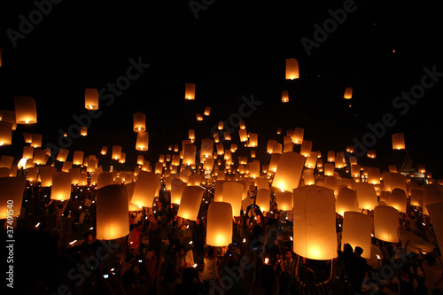 Thai traditional Newyear balloon lantern at night Poster