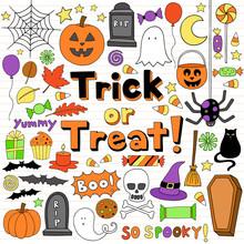 Trick Or Treat Halloween Notebook Doodles Set