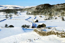 Walls And Barns Snow Scene