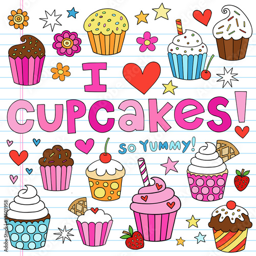 Photo  Birthday Cupcakes Party Doodles Vector Set