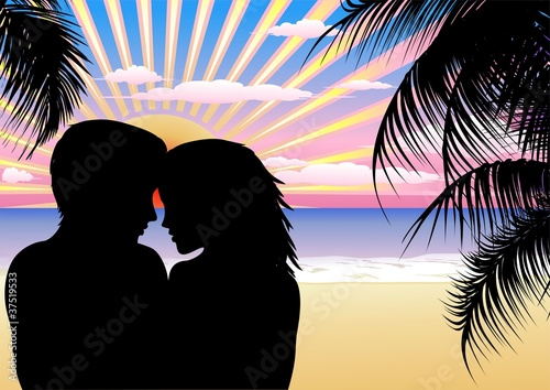 Coppia Amore Spiaggia Esotica-Lovers on Exotic Beach-Vector