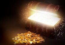 Old Wooden Treasure Chest With Strong Glow From Inside.