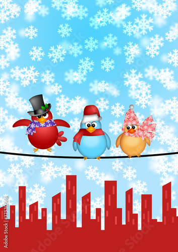 Fotobehang Vogels, bijen Three Birds on a Wire with City Skyline Christmas Scene