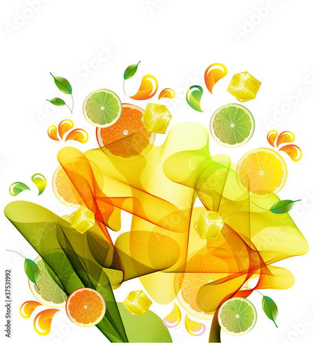 Foto op Plexiglas Tulp Orange, lemon and lime juice splash