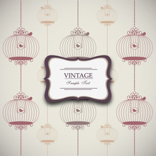 Vintage Design With Birdcages ...