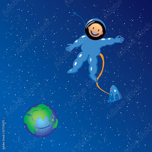 Garden Poster Cosmos cartoon astronaut in outer space