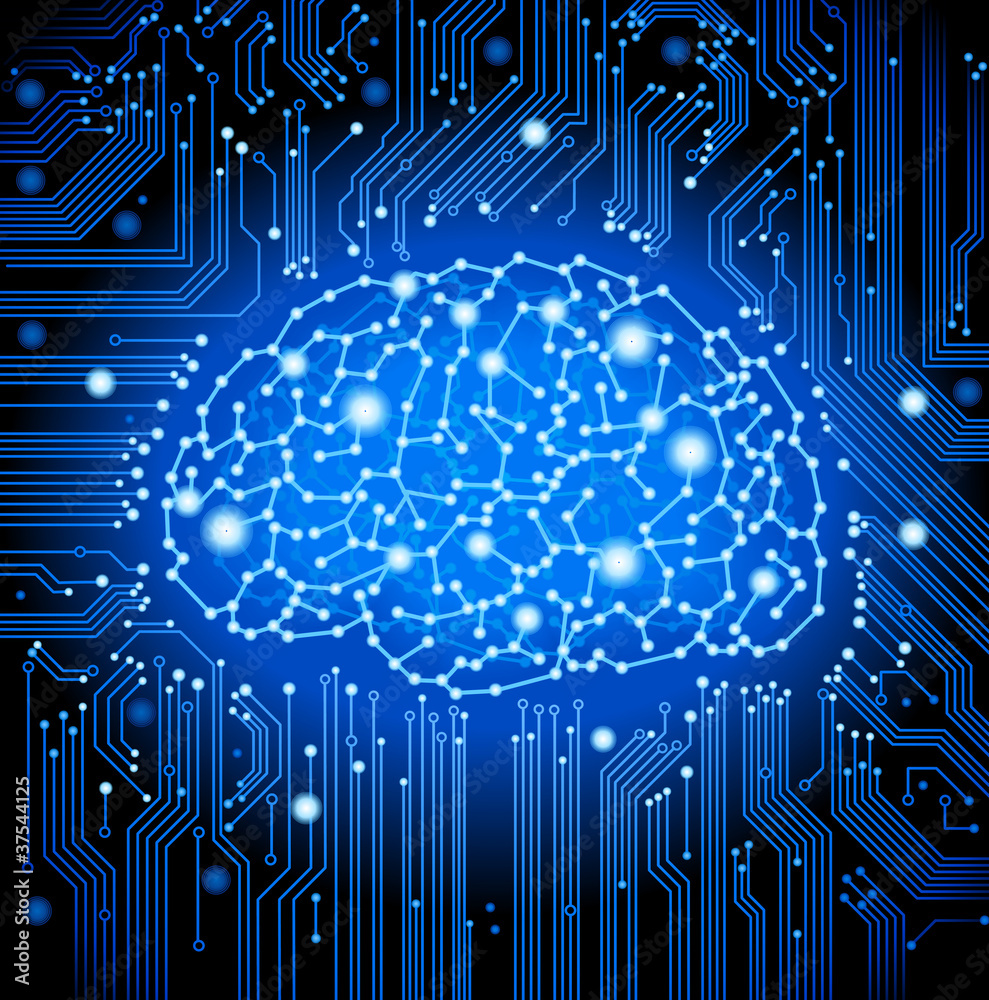 Photo Art Print Circuit Board Brain Background Europosters