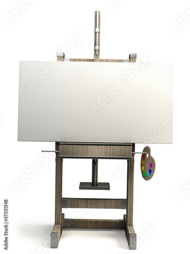 wooden easel with blank canvas isolated on white Canvas Print