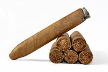 Brown Cigar Burned On White Ba...