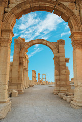 Fototapeta Ancient Roman time town in Palmyra, Syria.