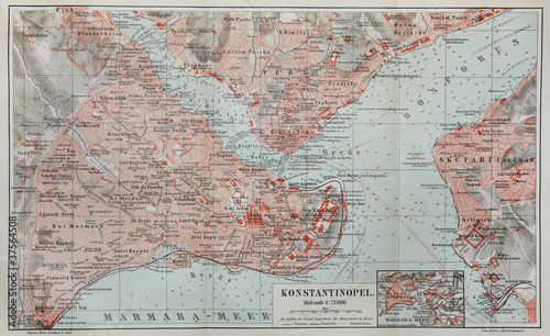 Vintage map of Constantinople Fotobehang