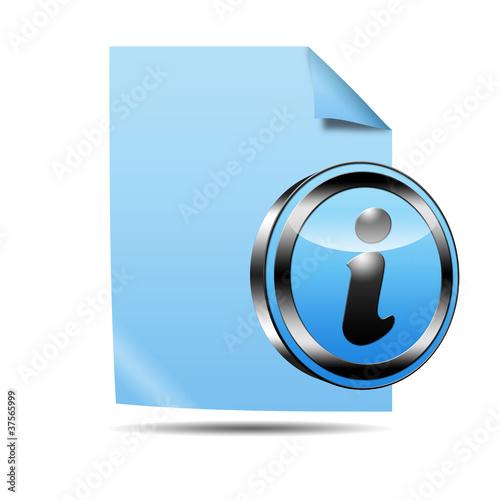 Fotografía  Icono documento 3D con señal informacion