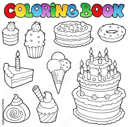 Spoed Foto op Canvas Doe het zelf Coloring book various cakes 1