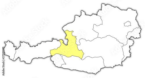 Map of Austria, Salzburg highlighted – kaufen Sie diese ...