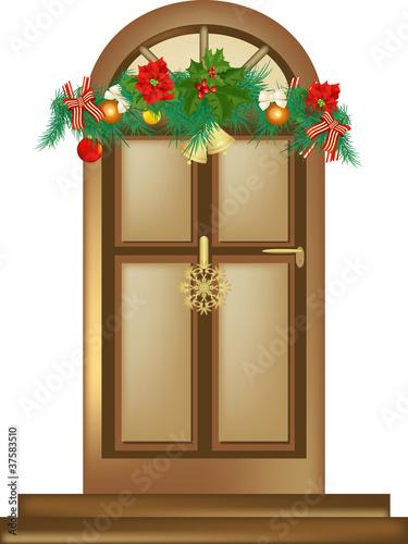 Fotografie, Obraz  Porta con decorazione natalizia