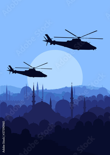 Poster Militaire Army helicopters flying over Arabic city landscape