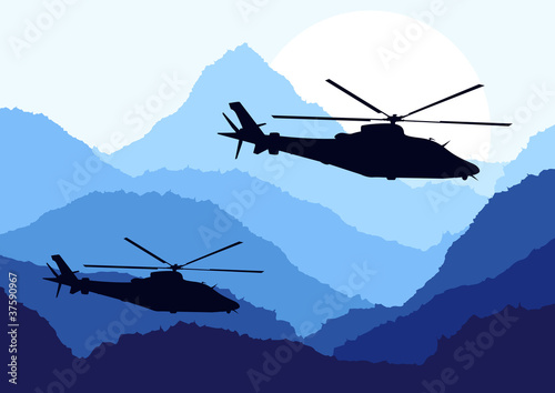 Poster Militaire Army helicopters in mountain landscape background