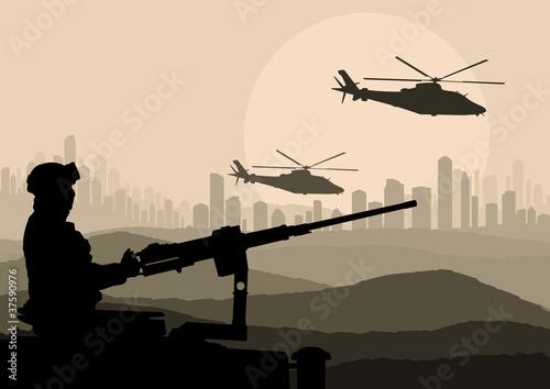 Poster Militaire Army soldier in desert skyscraper city landscape
