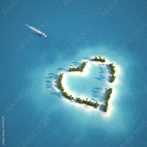 Foto-Schiebegardine Komplettsystem - paradise heart shaped island