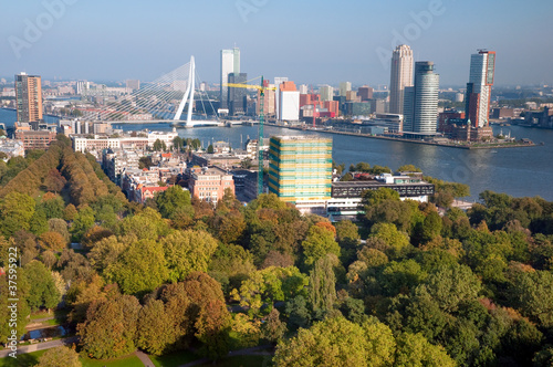 Staande foto Rotterdam View of part of Rotterdam city and park from Euromast tower - N