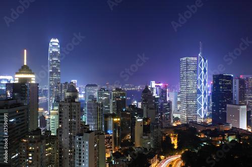 Poster Chicago Hong Kong city at night
