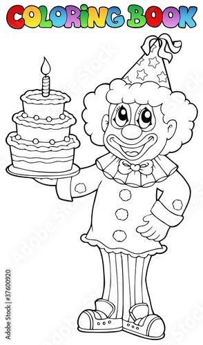 Türaufkleber Zum Malen Coloring book with happy clown 3