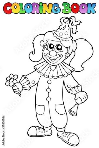 Türaufkleber Zum Malen Coloring book with happy clown 5