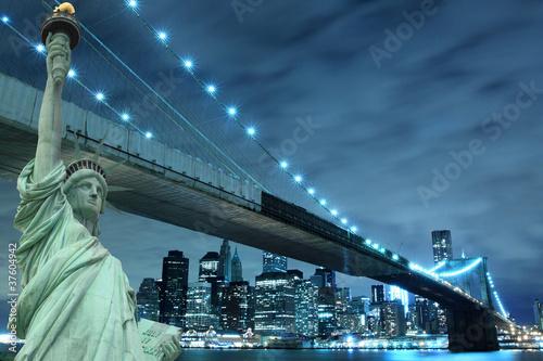 Brooklyn Bridge and The Statue of Liberty at Night
