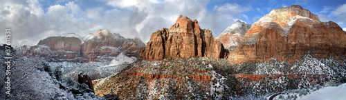 Recess Fitting Pale violet Sandstone Peaks In Winter, Zion NP, Utah