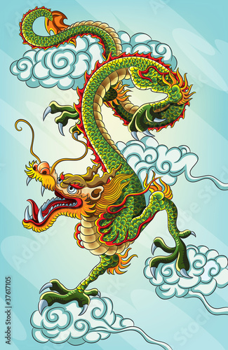 Chinese Dragon Painting (EPS 10 file version) #37617105