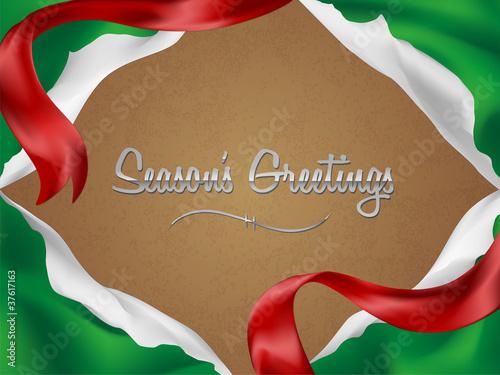 Fotografia, Obraz  Christmas card/background with torn giftwrap