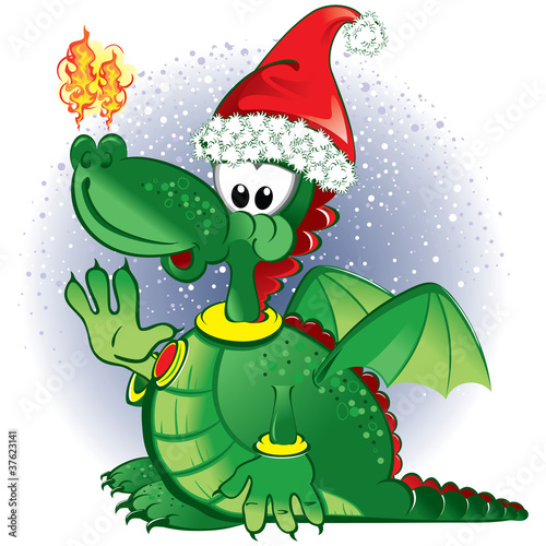 Keuken foto achterwand Dinosaurs Green funny dragon wearing a Santa hat
