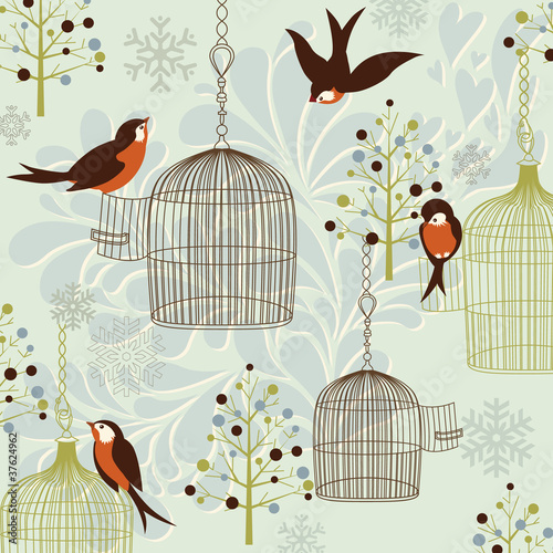 Poster Vogels in kooien Winter Birds, Birdcages, Christmas trees and vintage background