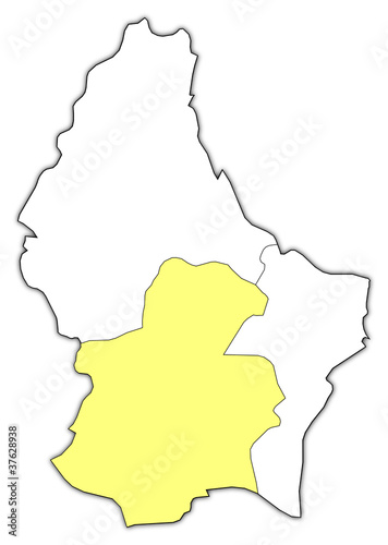 Map of Luxembourg, Luxembourg highlighted – kaufen Sie diese ...