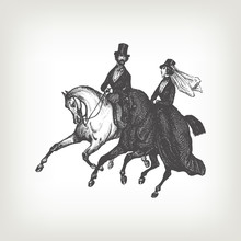 Engraving Vintage Noble Horse Riders.