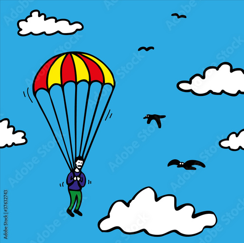 Poster Ciel Parachute Jump