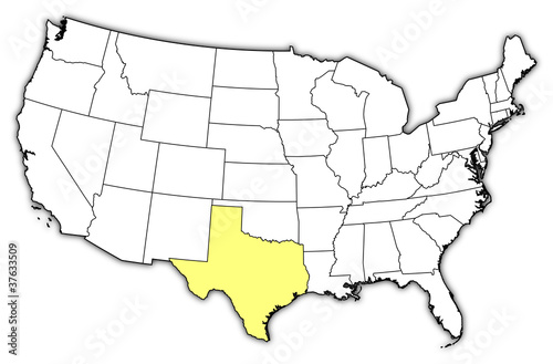Map Of The United States Texas Highlighted Buy This Stock Vector - Us-map-with-texas-highlighted