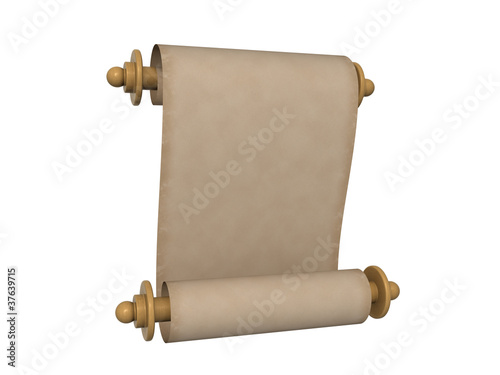 Paper scroll isolated on the white background Wallpaper Mural