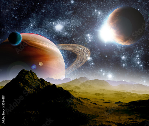 Abstract background of deep space. In the far future travel. New - 37644114