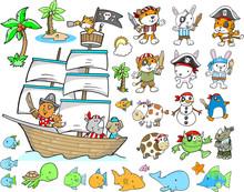 Pirate Animal Ocean Character Design Vector Set