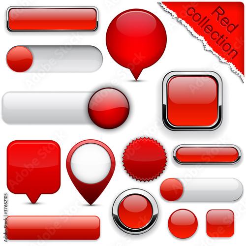 Fotografía  Red high-detailed modern buttons.