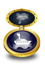 Cruise Ship Button (vector)