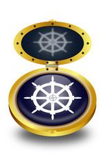 Ship Wheel Button (vector)