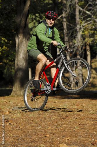 Aluminium Prints Cycling Biker in action