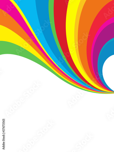 Photo  Colorful Rainbow Over the White Background