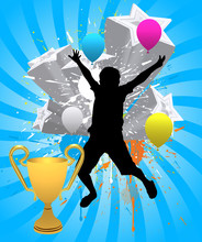 Happy Kid After Winning A Trophy