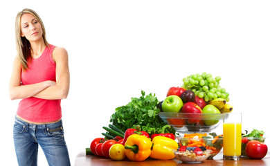 Young woman with fruits and vegetables.