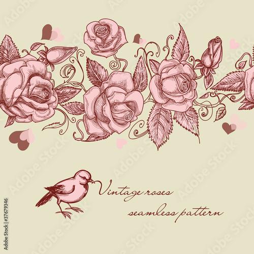 Tuinposter Abstract bloemen Vintage roses seamless pattern