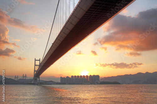 Photo  Tsing ma bridge sunset,Hongkong