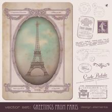 Vector Set: Paris Postage Design Elements
